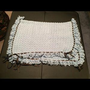 Other - Handmade crochet baby blanket, blue & brown